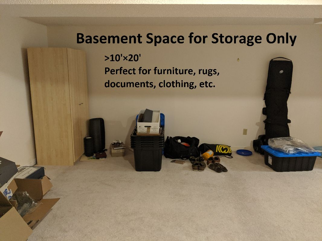 10'×20' climate controlled finished basement storage